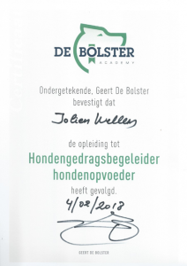Certificaat De Bolster - Hondengedragsbegeleider:Hondenopvoeder